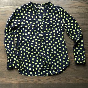 Gap Navy Blue and Green Polka Dot Button Up